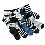 Niños Niños Paquete De 10Unidades Negro Gris Azul Marino Calcetines de rayas (edad 3a 8)