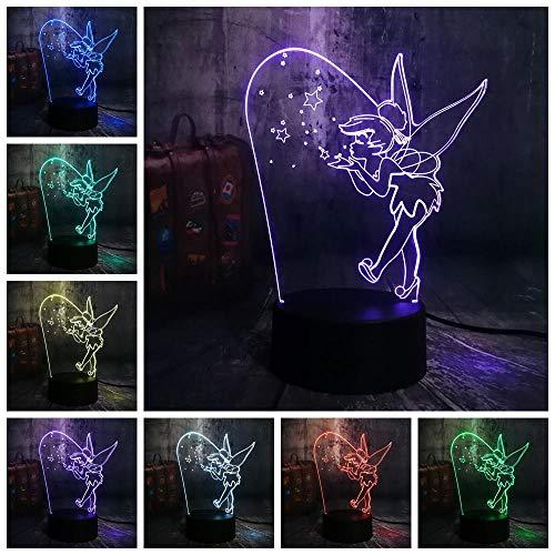 CFLEGEND3D nachtlicht (touch + fernbedienung) LED tischlampe statue kinderzimmer schlaf licht 7 farbe USB cartoon niedlichen elfen Fräulein ändern nachtlicht niedlichen mädchen tischlampe geburtstag Fraulein Mädchen