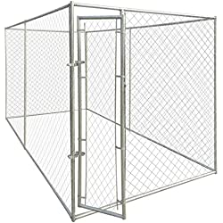 WT Trade Premium XXL Hundezwinger für Draußen mit Tür | 200x400x195cm | Hundehütte Hundekäfig Hundehaus Hütte | außen Auslauf
