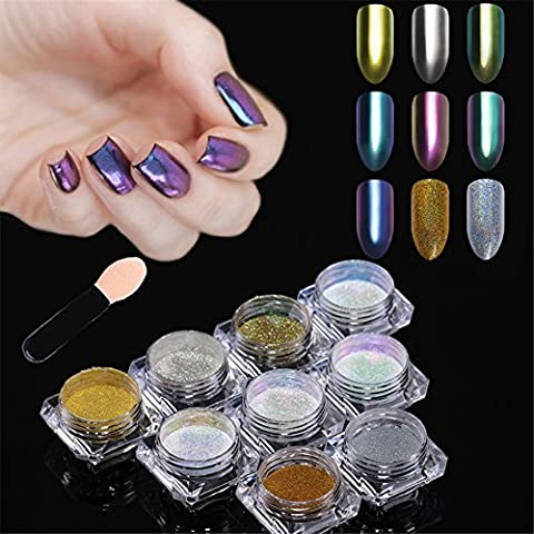 Born Pretty Nail Art Mirror Dust Chrome Powder Holographic Chameleon Pigment Glitter for Manicure Makeup 9 Colours
