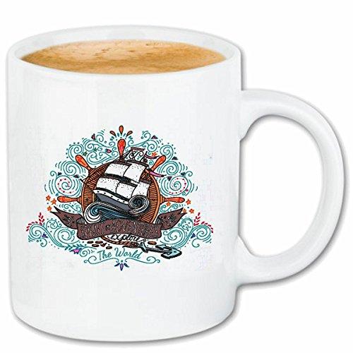 Reifen-Markt Kaffeetasse Spirit of Adventures Segelschiff Piratenschiff MIT Steuerrad SEEFAHRER KAPITÄN MATROSE SEGELBOOT Vier Master Karibik Keramik 330 ml in Weiß