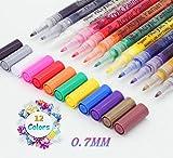 sinzau Acrylstifte Marker Stifte, permanent Marker 12 Farben 0.7mm Strichstärke, ungiftig, zum...