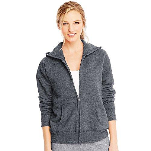 Hanes ComfortSoft EcoSmart Women's Full-Zip Hoodie Sweatshirt_Slate Heather_M