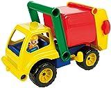Lena 04356 - Aktive Müllwagen LKW, ca. 30 cm, mit beweglicher Lena Spielfigur, Müllabfuhr Spielfahrzeug für Kinder ab 2 Jahre, robustes Müllauto mit verriegelbarem Müllbehälter und Mülltonne, für Einsatz im Sandkasten, am Strand und Kinderzimmer