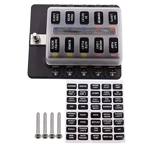 Republe 10 Way Boîte à fusibles Bloc de Voiture de véhicule Phare antibrouillard fusible Lame Type Support LED indicater Accessoires Voiture