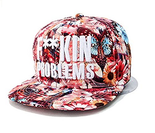 Blumen Snapback Cap Hut Floral Hip Hop Baseballkappe Flat Schildmütze größenverstellbar (Rot) (Snapback-hut Für Frauen)