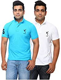 Yross Men's Cotton Polo Neck Turquoise & Lemon T-Shirt- Combo (Pack Of 2)