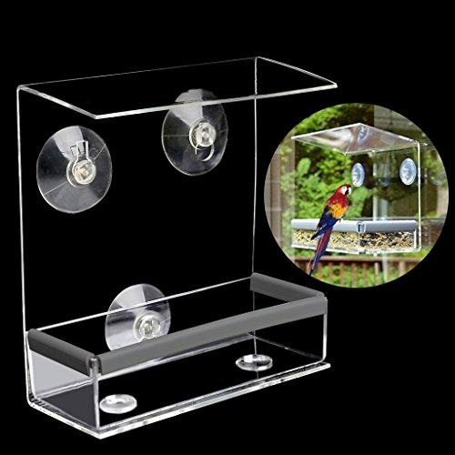 Jiamins Clear Window Bird Feeder Fütterung Eichhörnchen Vogelhaus mit Saugnapf Cup Mount -