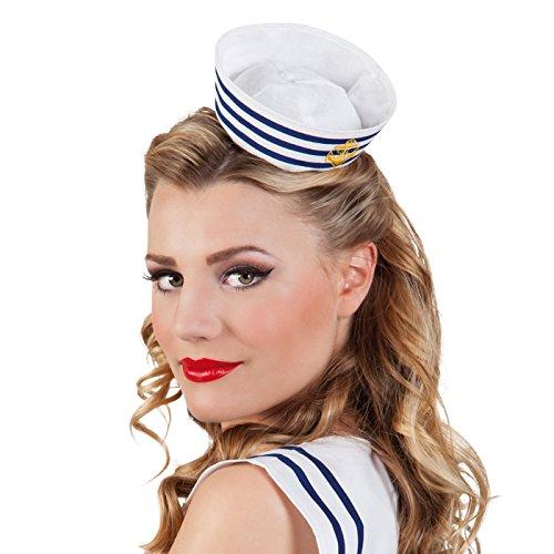 NEU Mini-Matrosenmütze mit Haarreif, blau-weiß