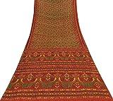 Vintage Indian Orange Saree Reine Seide Stoff Vögel Ethnic