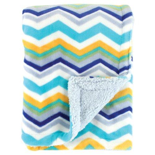 Hudson Baby Double Layer Blanket, Blue (kuschelweiche Babydecke) Chevron - USA -