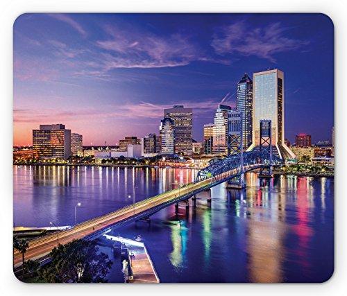 Lunarable Urban Mauspad Jacksonville Florida Architecture, Business District Cityscape Abendszene Standardgröße, rechteckig, rutschfestes Gummi-Mauspad, Violett/Blau / Pfirsich