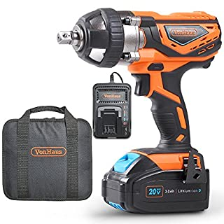 VonHaus Cordless Impact Wrench with 3.0Ah Li-ion 20V MAX Battery, Charger & Power Tool Bag - Includes Direction Control & Variable Speed Trigger (½