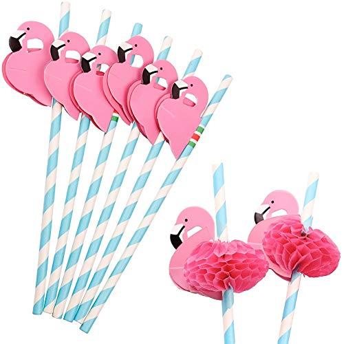 HansGo Flamingo Papier Stroh Dekorationen, 50PCS Einweg Cocktail Trinkhalme Deko für Party Tisch Décor Luau Party
