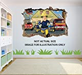 Feuerwehrmann Sam Loch in 3D Effekt Wandaufkleber geeignet für Kinder Schlafzimmer Wände, Türen und Fenstern. - XXL 100cm x 68cm