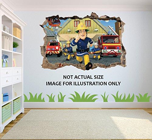feuerwehrmann sam sticker Feuerwehrmann Sam Loch in 3D Effekt Wandaufkleber geeignet für Kinder Schlafzimmer Wände, Türen und Fenstern. - XXL 100cm x 68cm