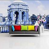 Hwhz Carta Da Parati Personalizzata 3D Carta Da Parati 3D Bellissimo Scenario Castello Palazzo Soggiorno Balcone Decorazione Dell'Hotel Murale Sfondo-350X250Cm