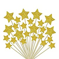 ZARRS Cake Toppers Star,50 Pack Cupcake Toppers Decorations Glitter for Weddings Birthdays Parties Fruit Picks Food Picks Gold 9.2CM