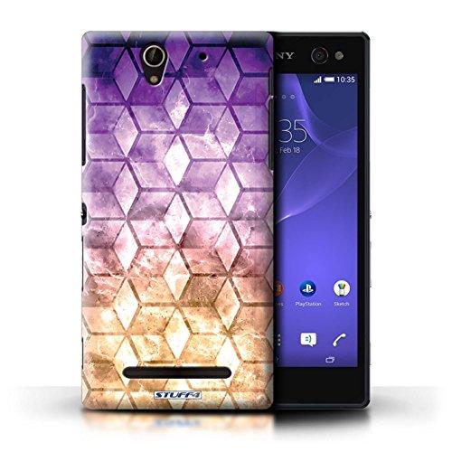 Kobalt® Imprimé Etui / Coque pour Sony Xperia C3 / Jaun/Bleu conception / Série Cubes colorés Violet / Orange
