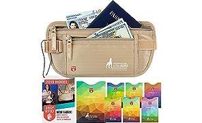 Alpha Keeper Ceinture de Voyage RFID Pochette de Voyage avec Poches Anti RFID pour Une utilisa-Tion Quotidienne [Nouveau modèle 2019]