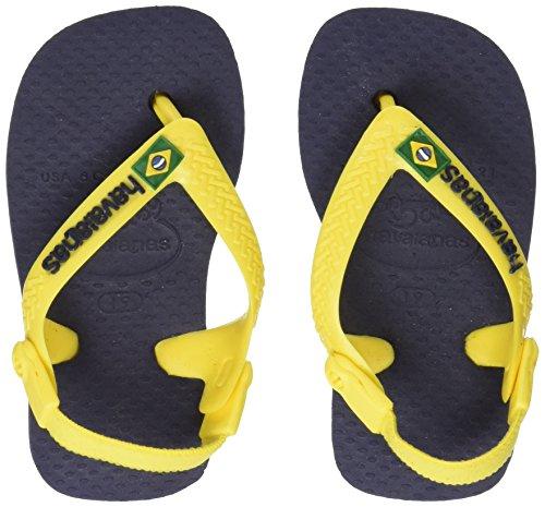 Havaianas Unisex Baby Brasil Logo Sandalen, Mehrfarbig (Navy Blue/Citrus Yellow), 23 EU (21 Brazilian) (Baby Flops Flip)