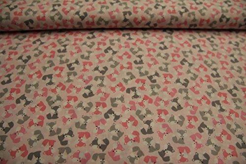 Stoff / Meterware / ab 25cm / beste Baumwoll-Qualität / Baumwolle (USA-Design) Füchse klein pink auf rosa (Robert Kaufman) (Stoff Kaufman)