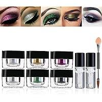 RUIMIO Polvo de purpurina de 6 colores con gel de fijación de purpurina y pincel de sombra de ojos, maquillaje, decoración de uñas