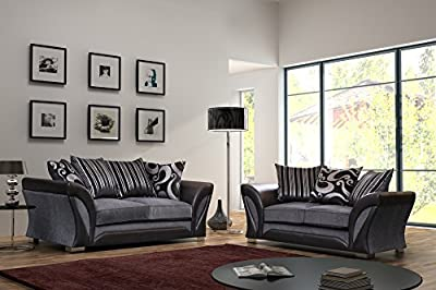 Flux Black and Grey Fabric and Chenille Designer Sofa Settee Couch 3+2 Seater by Flux