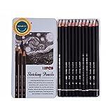 12crayons à dessin SAYEEC de bois et de graphite pour esquisse à l'étain, 10B-3H (3H,2,H,H,HB,B,2B,3B,4B,5B,6B,8B,10B)