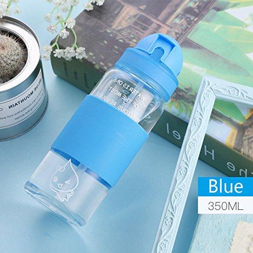 ma Trinken stillen Wasser Schale Glas Flasche Trinken mit Stroh Anti Verbrühen Silikon gutes Geschenk für Kinder, Erwachsene, 350 ML ()