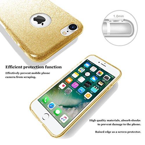 """iphone 7 Case, hanlesi lucida copertura [bling chiarissimo] [slim fit] 3 strato ibrido con brio premio trasparente tpu custodia per apple iphone 7 (4.7"""") Oro"""