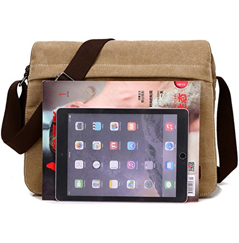 Super Modern Umhängetasche, Laptop-Tasche, Computer-Tasche, aus Segeltuch, für Männer und Frauen, Herren, Khaki Large Khaki groß