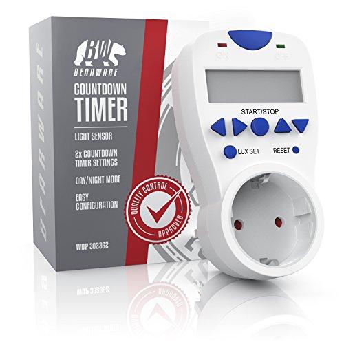 CSL – Countdown Timer inkl. Lichtsensor | 3680W | Countdown Zähler für die Steckdose | Tag/Nacht-Erkennung | 3 Betriebsmodi On/Off/Timer | Kindersicherung | energieeffizient - 4
