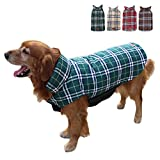 TFENG Hundemantel Hundejacke für Hunde Welpen, Gepolstert Puffer Umkehrbares Design Weste Regenmantel (Grün, Größe 3XL)