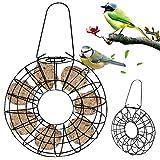 Explea Mangiatoia per Uccelli in Metallo Appeso A Pioggia Rotonda Antivento Alimentatore di Uccelli per Giardino di Uccelli Selvatici All'aperto
