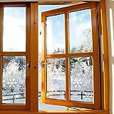 Foho 108 Fensterbilder Schneeflocken Design für Winter und Weihnachten Fensterdeko Set - Statisch Haftende PVC Aufkleber Test