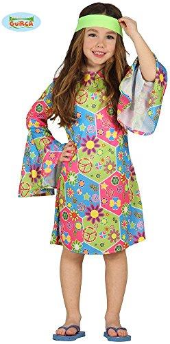 70's Ideen Kostüm (Kostüm Hippie Mädchen Annelie Kleid Kinderfasching Flower Power (4- 6 Jahre (Gr.)