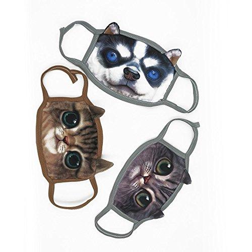 tomill Cute Youth Vivid 3D Cat Face Soft atmungsaktiv Aktivkohle Fleece Anti Staub Cechya Mund Gesicht Staubdicht Winddicht heißen Masken Gesunde Luft Filter Set von 3Geschenk, Schiff in (Face Kostüm Cat)