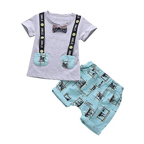 Hirolan 2 Stück Sommerkleidung Säugling Baby Kinderkleidung Jungen Brief Drucken Lächeln Oberteile + Hosen Outfits Kleiderset Schöne Bowtie T-Shirt Handsome jogginganzug (12M-80CM, Grau)