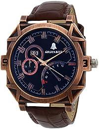 Golden Bell Original Chronograph Black Dial Brown Strap Wrist Watch For Men - GB-623Blk