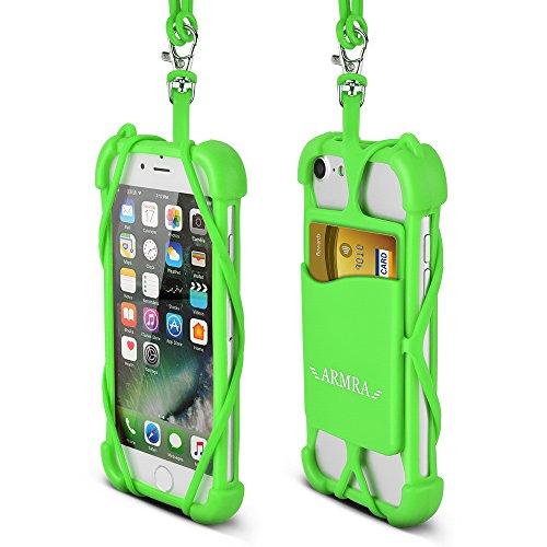 Telefono Cordoncino Universale 4  a 6  Silicone Caso con Collo Cinghia per iPhone 7/7 Plus/6/6 Plus/5/Samsung Note 4/5/LG/HTC/Huawei by ARMRA (Nero) Verde