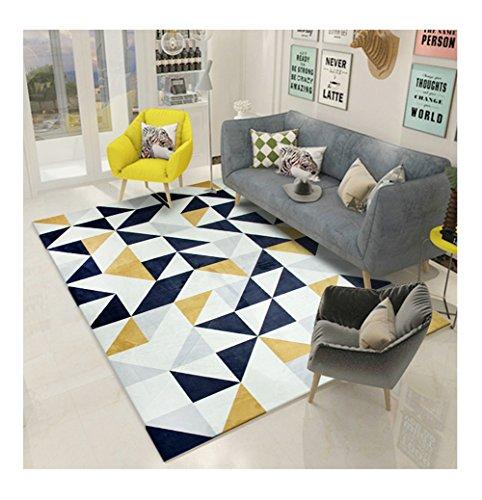 Q Alfombras nórdicas / alfombra Sala de estar Sofá Mesa de café Alfombra de patrón geométrico rectangular (color: azul marino) ( Tamaño : 140*200cm )