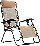 AmazonBasics Chaise de camping pliable zéro gravité Beige