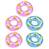 Beaulies Inflatable 5/10 Pack Mini Swim Ring, Summer Fun Swimming Pool Float Raft Lifebuoy PVC Inflatable Ducks for Children Kids Pretended Play Toys Accessories(Color Random) (5pcs)