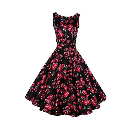 Hrph Summer Femme Vintage Robe Sans Manches Imprimé Fleur Haute Taille Robe A-Ligne Au Genous Poofy #4
