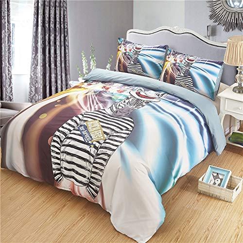 TQTOWN Zebra Kinderzimmer Bettwäsche Tröster Set Cartoon Tier Mikrofaser Bettbezug Set mit Kissenbezug Mode Kind Bettwäsche Quilt Bettwäsche Queen-Set (Color : City, Size : 260X230cm) (City Tiere Queen)