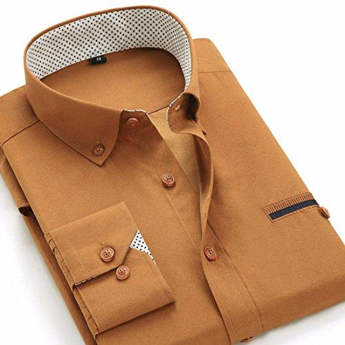 Men's Turn Down Long Sleeve Dress Shirts Kaki