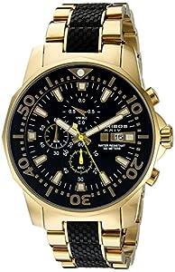 Akribos XXIV Hombre dodecagonal Esfera de color negro reloj cronógrafo cuarzo Dorado Pulsera de Akribos XXIV