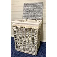 Home Delights Large Grey Laundry Basket Rattan Wicker Storage With Lining For A Large Basket