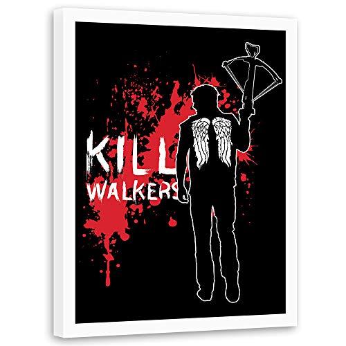 carowall CAROWALL.COM Kunstdruck weißer Rahmen Mann mit Armbrust Dekoration Rot 50x70 cm